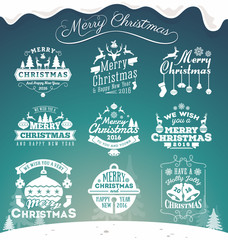 Set of Christmas decoration typography tag and label design. Merry Christmas and happy new year 2016. Vector illustration