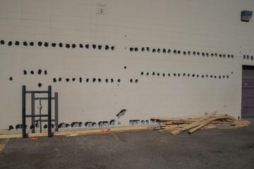 Holes made for building demolishing