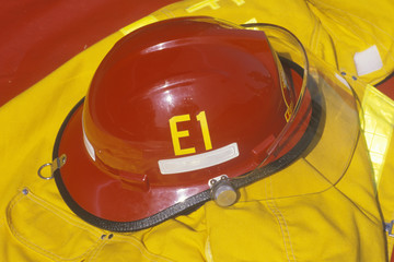 Red helmet and yellow jacket of fire fighter, Beverly Hills, California