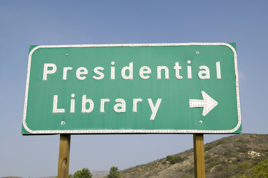 Road sign for the Ronald Reagan Presidential Library, Simi Valley, CA