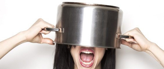 Stressed girl wearing a pot as hat letterbox