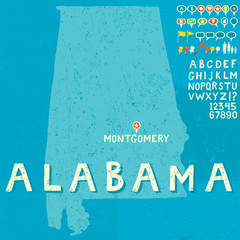 Map of Alabama with icons