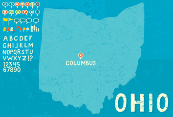 Map of Ohio with icons
