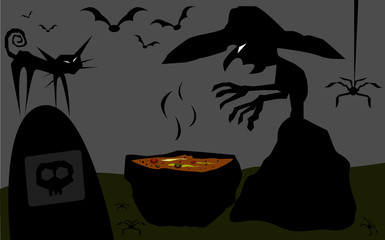 Ugly Witch preparing poison in the cemetery.