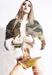 Double exposure of fashion model wearing furry jacket and citysc