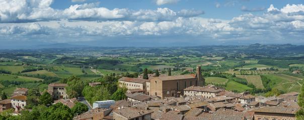 Fototapete - Panorama of San Gimignano, Tuscany, Italy