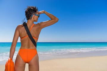female lifeguard on the beach