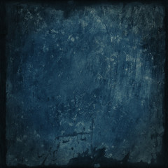 Abstract blue grunge background with brush strokes and canvas frame
