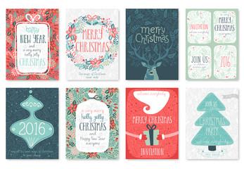 Canvas Print - Christmas hand drawn card set.