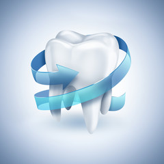 healthy white tooth with blue arrow