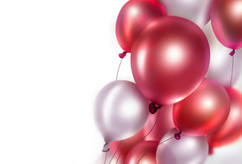 bright red and white balloons