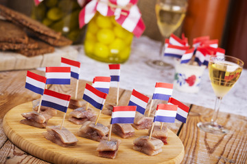 Dutch herring ('haring') with onions and pickles