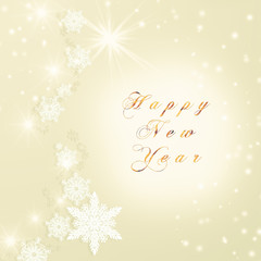 Words Happy New Year text written on golden Christmas sparkly bright background. Christmas card.