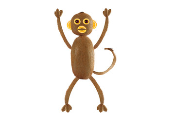 Healthy eating. Funny little  monkey made from kiwi