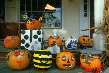 Carved Pumpkins on Porch, Basking Ridge, New Jersey