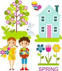 Set of vector illustration spring season with tree, children and house in flat style.