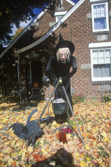 Scary Halloween Witch on Lawn, New York State