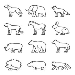 Outline icon animals set. Domestic and wild.