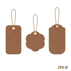Vector vintage sale tags from grunge cardboard