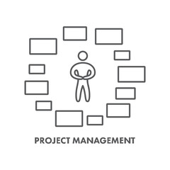 Line icon project management. Vector business symbol