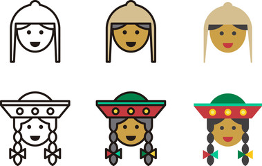 set of PERUVIAN man and woman icons with traditional clothing