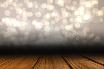 Shimmering light design over boards