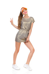 Girl In Gold Mini Dress Showing Peace Sign