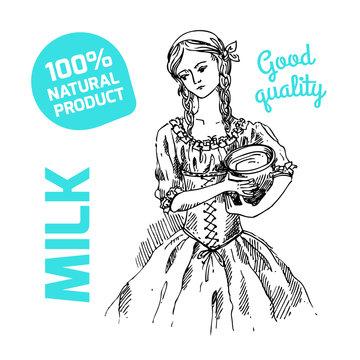 sketch of milkmaid