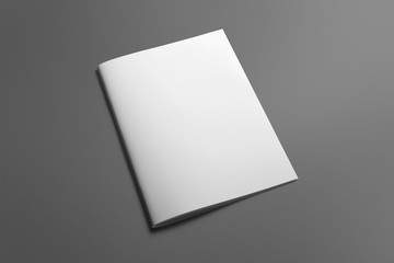 Blank Brochure magazine isolated on grey to replace your design