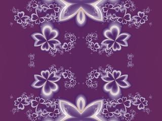 Flower pattern in fractal design. Purple palette. Artwork for cr