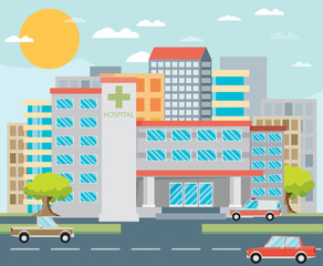 City hospital building in flat style