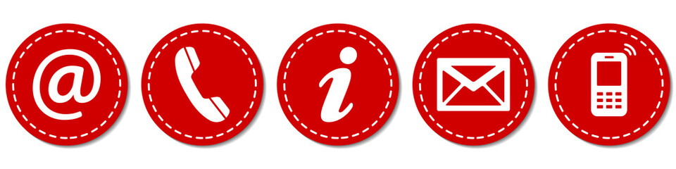 Contact Us – Round red sticker buttons with dashed line