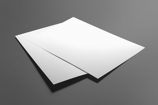Blank flyer poster isolated on grey to replace your design