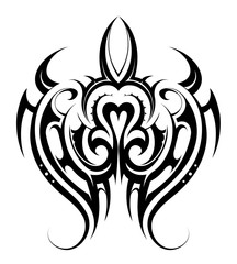 Turtle shape tattoo
