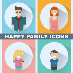 Happy Family Icons Set