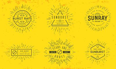 Sun burst vintage shapes collection set of sun ray frames retro vector design elements