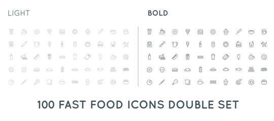 Set of Thin and Bold Vector Fastfood Fast Food Elements Icons and Equipment as Illustration can be used as Logo or Icon in premium quality