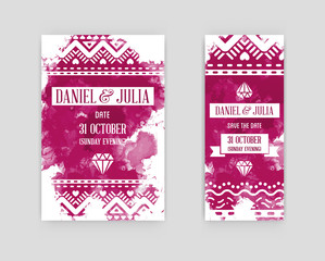 Set of Vector Illustration Invitation to Wedding Card. Collection in Watercolor Art Style on Backdrop