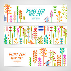 A set of design templates horizontal banners with decoration geometric frame of flowers, plants, twigs, berries in a modern style. Good for invitations, posters, postcards. Place for your text. Vector