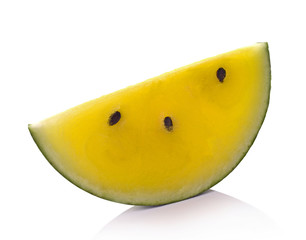 Yellow watermelon on whithe background