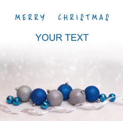 Christmas and happy new year card with  blue and silver balls
