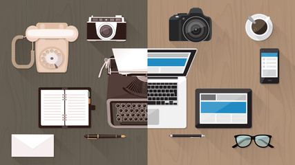 Desktop and devices evolution Wall mural