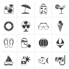 Black Summer and beach icons - vector icon set