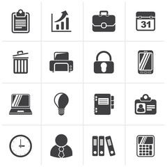Black Business and office icons - vector icon set