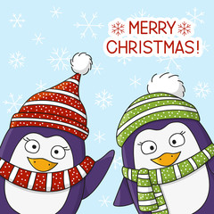 Christmas penguins on snow background