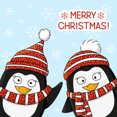 Christmas penguin on snow background