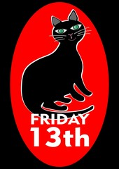 Black Friday 13th poster with good-natured pleased fat black cat. Vector EPS 10
