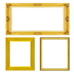 set ntique gold frame isolated on black background