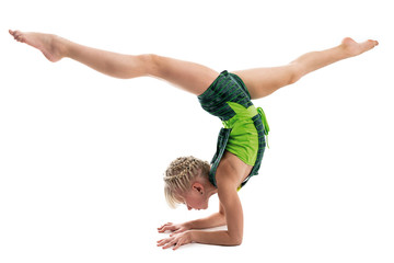 Photo sur Plexiglas Gymnastique Young gymnast on a white background.