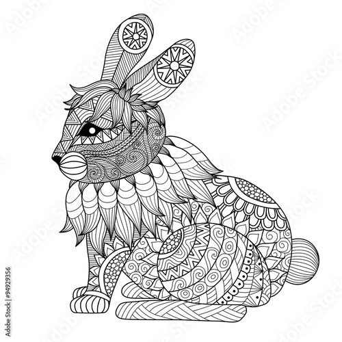 Drawing Zentangle Rabbit For Coloring Page Shirt Design Effect Logo Tattoo And Decoration